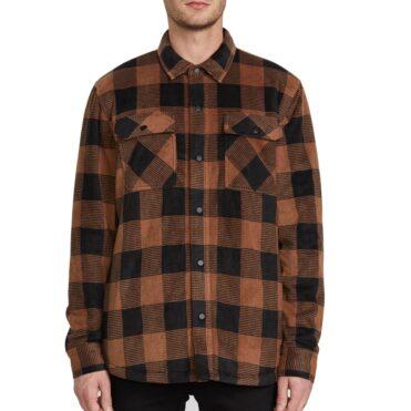Volcom Bower Polar Zip Up Sweatshirt Bison