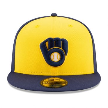 New Era 59Fifty Milwaukee Brewers 2020 Alternate Authentic Collection On-Field Fitted Hat Navy Yellow
