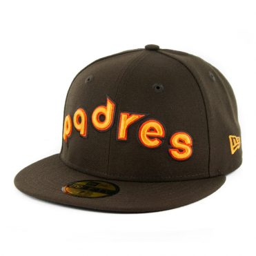 New Era 59Fifty San Diego Padres Script Fitted Hat Dark Brown