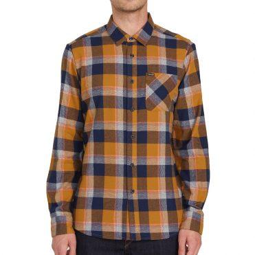 Volcom Caden Plaid Long Sleeve Shirt Bronze