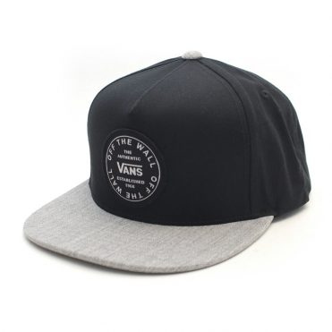 Vans Old Skool Circle Snapback Hat Black Heather Grey