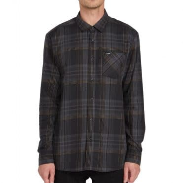 Volcom Bassment Flannel Long Sleeve Shirt Black